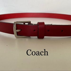 Coach red leather & nickel buckle belt NWOT
